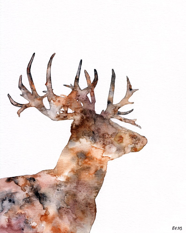 Deer Silhouette Painting  Print from Original Watercolor image 0