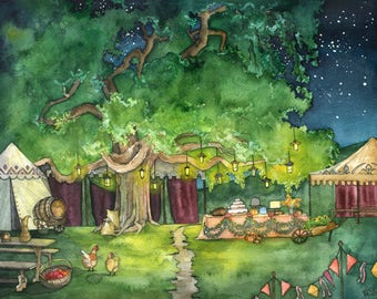 """Party Tree Painting, Bag End, Fantasy Art, Fantasy Painting, Lord, Jrr, Middle, Rings, Earth, Wizard, Print Titled """"A Long Expected Party"""""""