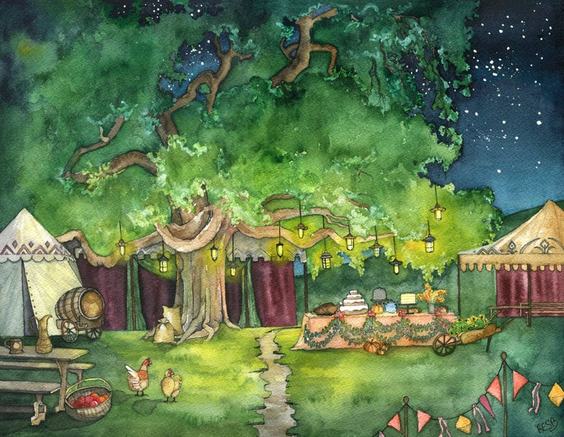 Party Tree Painting Bag End Fantasy Art Fantasy Painting image 0