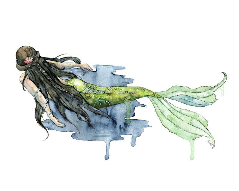 Mermaid Painting  Print of Mermaid Swimming Watercolor image 0