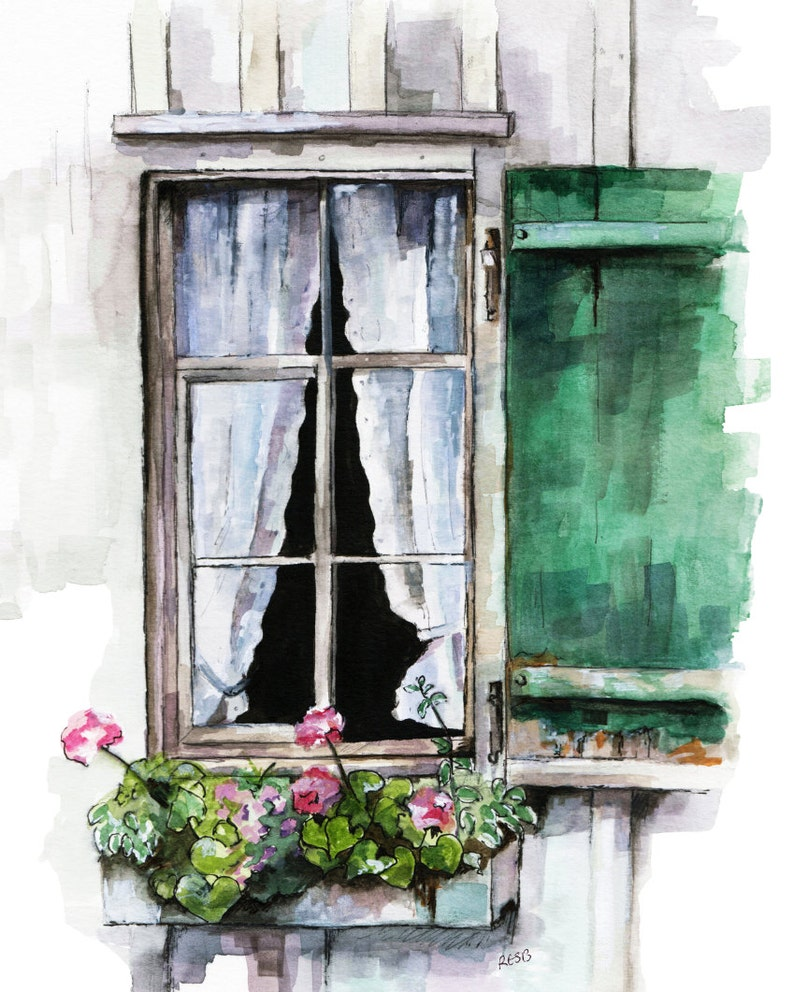 Window Painting  Print from Original Watercolor Painting image 0