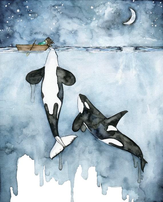 Acuarela de Orca XLARGE tamaño 16 x 20 y para arriba