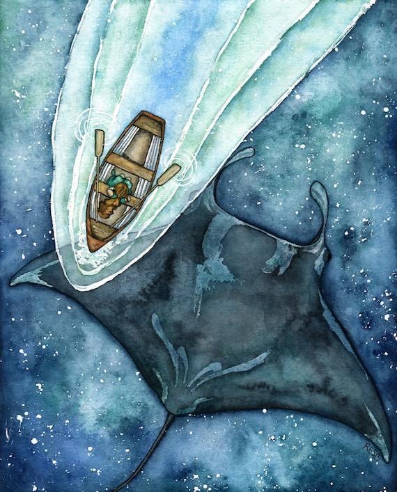 """Arte Manta Ray, Pintura Manta Ray, Manta Ray, Pintura de acuarela, Cielo estrellado, Mar, Cielo Nocturno, Arte del Océano, Impresión titulada, """"Astral Waters"""""""