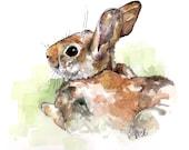 "Bunny Nursery Painting - Print from Original Watercolor Painting, ""Peter Rabbit"", Nursery Decor, Bunny, Hare"