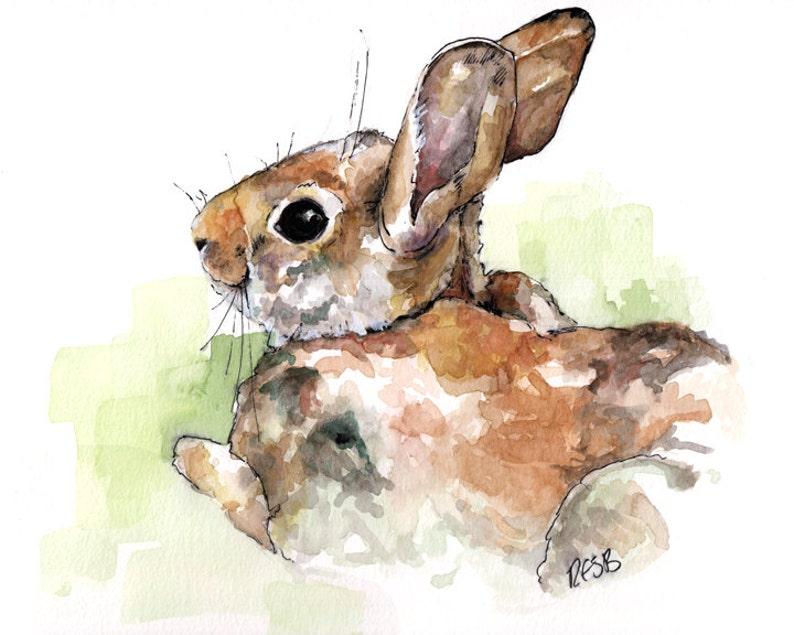 Bunny Nursery Painting  Print from Original Watercolor image 0