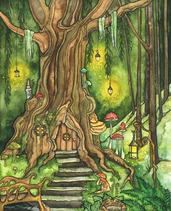 Enchanted Forest Painting Fantasy Art Fairy House Fantasy Etsy