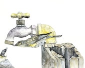 """Songbird Painting - Print from Original Watercolor Painting, """"Two Thirsty Birds"""", Songbird, Spigot, Faucet"""