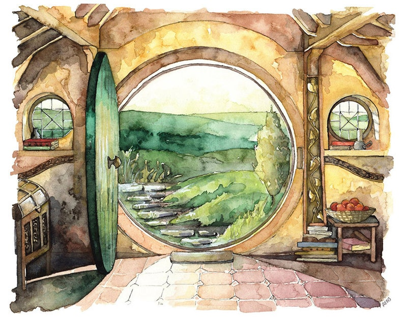 Bag End Painting Watercolor Painting Bag End Art Lord image 0