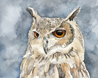 """Great Horned Owl Painting - Print from Original Watercolor Painting, """"The Night Hunter"""", Fall Decor, Brown Owl, Bird, Owl, Owl Decor"""