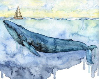 """XLARGE Watercolor Blue Whale Painting - Sizes 16x20 and up, """"Sovereign of the Sea"""", Whale, Whale Art, Whale Print, Blue Whale, Beach Decor"""