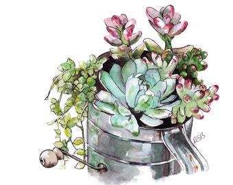 """Watercolor Succulent Painting - Print titled,""""Succulents"""", Succulent Print, Succulent Plants, Botanical, Succulents, Succulent Painting"""