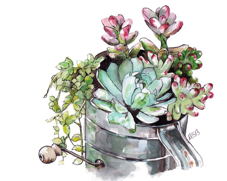 Watercolor Succulent Painting  Print image 0