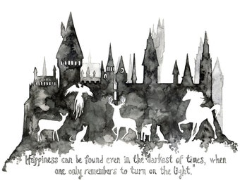 """Fantasy Quote Painting, Wizard School, Wizard Castle, Fantasy Art, Castle, Wizard, Fantasy Print, Magic, Quote - Print titled, """"Patronus"""""""