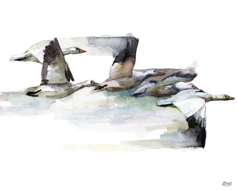 Geese Painting Watercolor Painting Flying Geese Bird Art image 0