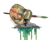"""Watercolor Brush Painting - Print titled, """"The Green Brush"""", Watercolor Print, Watercolor Art, Paint Brush, Coffee Mug, Painting Supplies"""