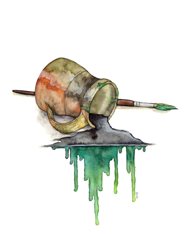 Watercolor Brush Painting  Print titled The Green image 0
