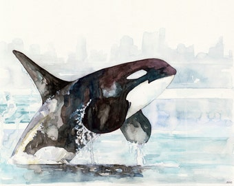 """Orca Painting - Print from Original Watercolor Painting, """"Icy Waters"""", Beach Decor, Whale Art, Orca Art, Whale Print"""