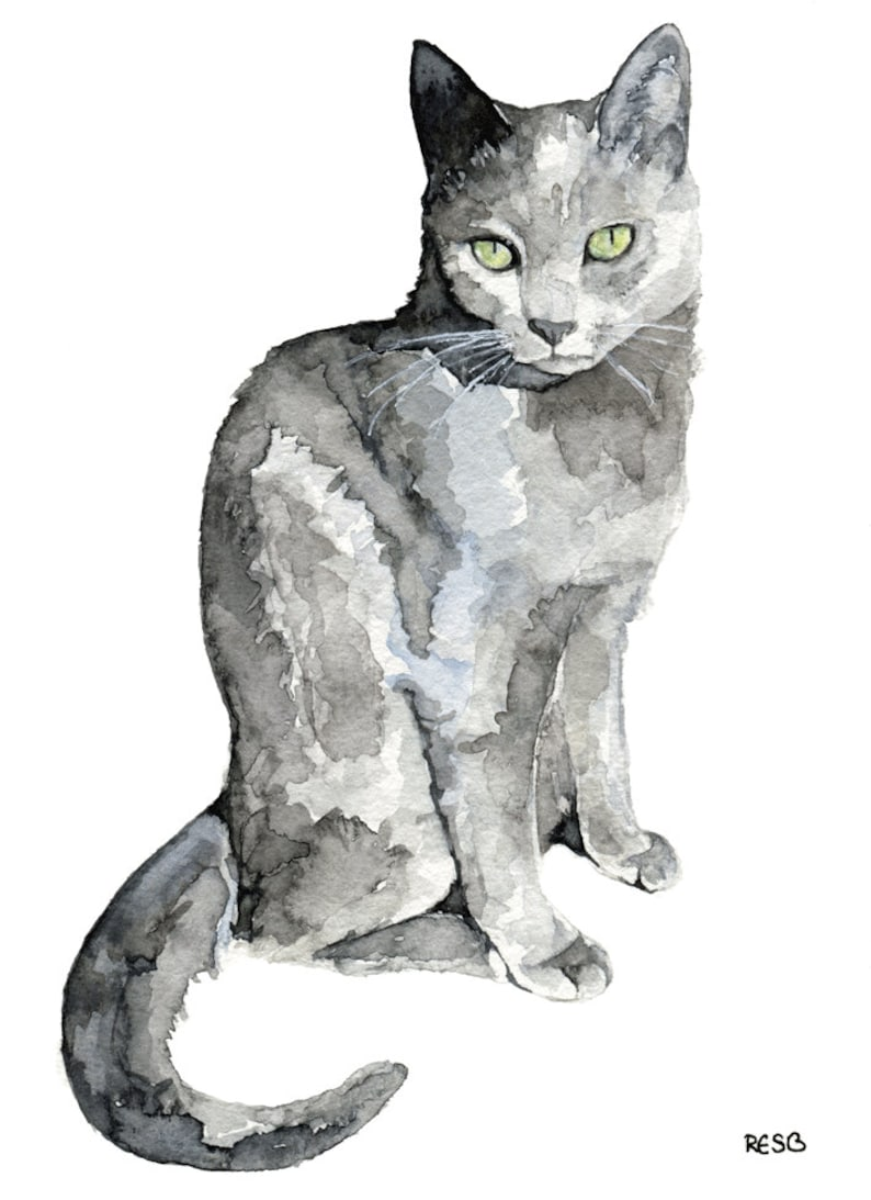 Grey Cat Painting Print from my Original Watercolor Painting image 0