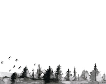 """Pine Trees Painting - Print from Original Watercolor Painting, """"Soft as Silence"""", Birds In Flight, Black and White, Watercolor Landscape"""