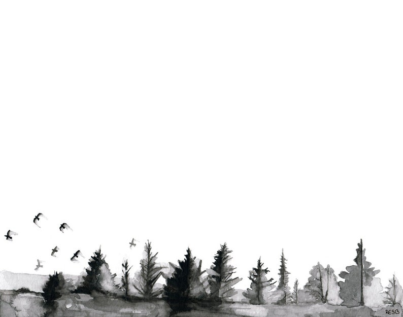 Pine Trees Painting  Print from Original Watercolor Painting image 1