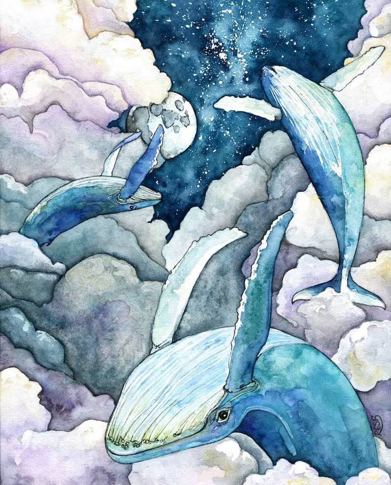 Whale Painting Watercolor Painting Whale Print Night Sky image 0