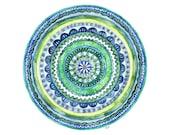 """Watercolor Mandala Painting - Print titled, """"Green Tranquility"""", Watercolor Print, Watercolor Art, Mosaic, Blue, Green, Mandala Art, Yoga"""