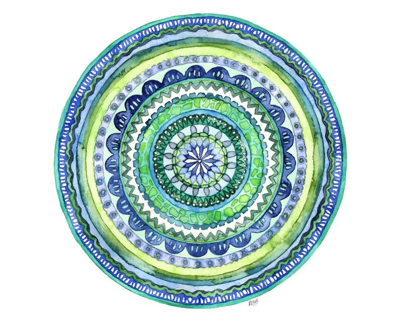 Watercolor Mandala Painting  Print titled Green image 1