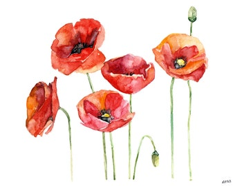 """Poppy Painting - Print from Original Watercolor Painting, """"Poppy Field"""", Red Poppies, Poppy Pods, Flower Print, Watercolor Flowers"""