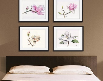 Magnolia print set of 4 - 8x10 Watercolor Paintings, Magnolia Watercolors, Print Set, Magnolia Print, Watercolor Flowers, Magnolia Painting