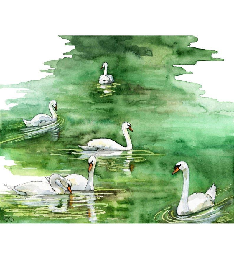 Watercolor Painting Swan Painting Swan Print Watercolor image 0