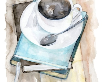 """Coffee Mug Painting - Print from Original Watercolor Painting, """"Relax"""", Kitchen Decor, Coffee Cup, Books, Coffee Art"""