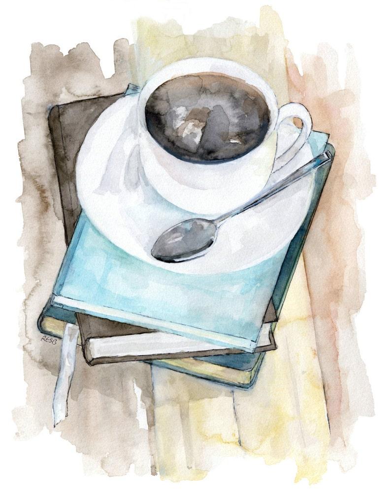Coffee Mug Painting  Print from Original Watercolor Painting image 0