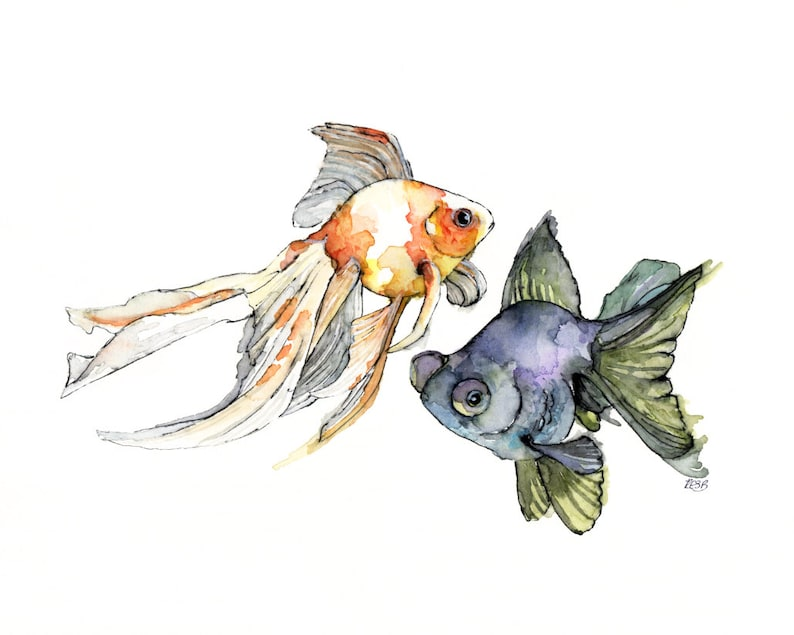 Watercolor Fish Print  Painting titled Japanese image 0