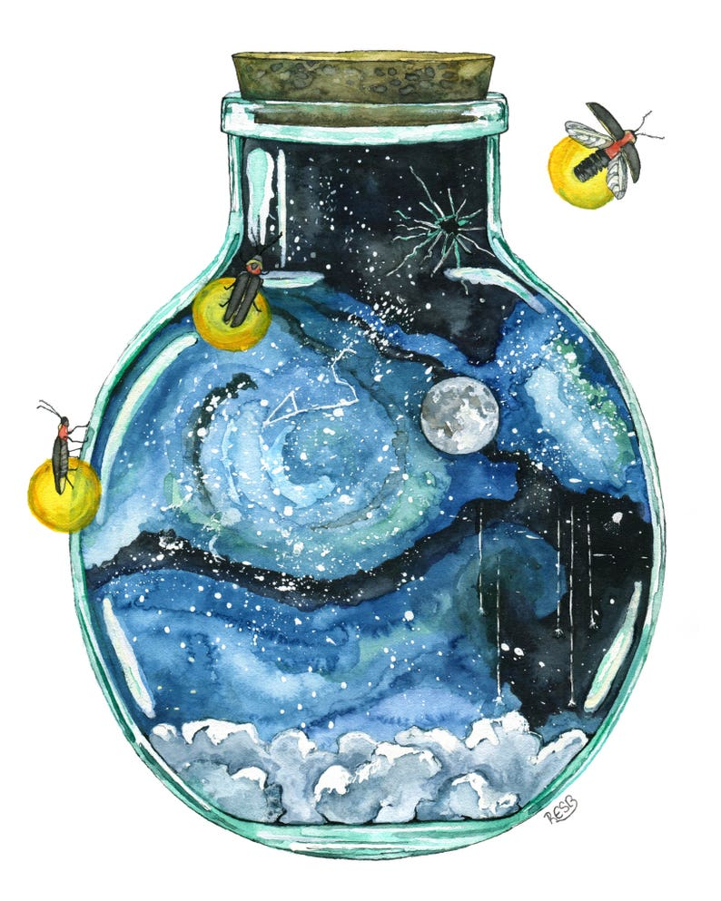 Galaxy Painting Watercolor Painting Night Sky Bottle image 0
