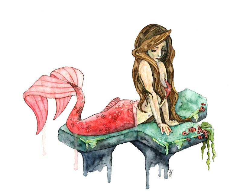 Watercolor Mermaid Painting Mermaid Print Mermaid Art image 0