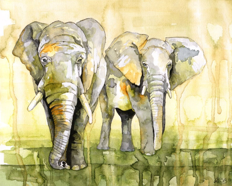 Watercolor Painting Elephant Painting Elephant Print image 0