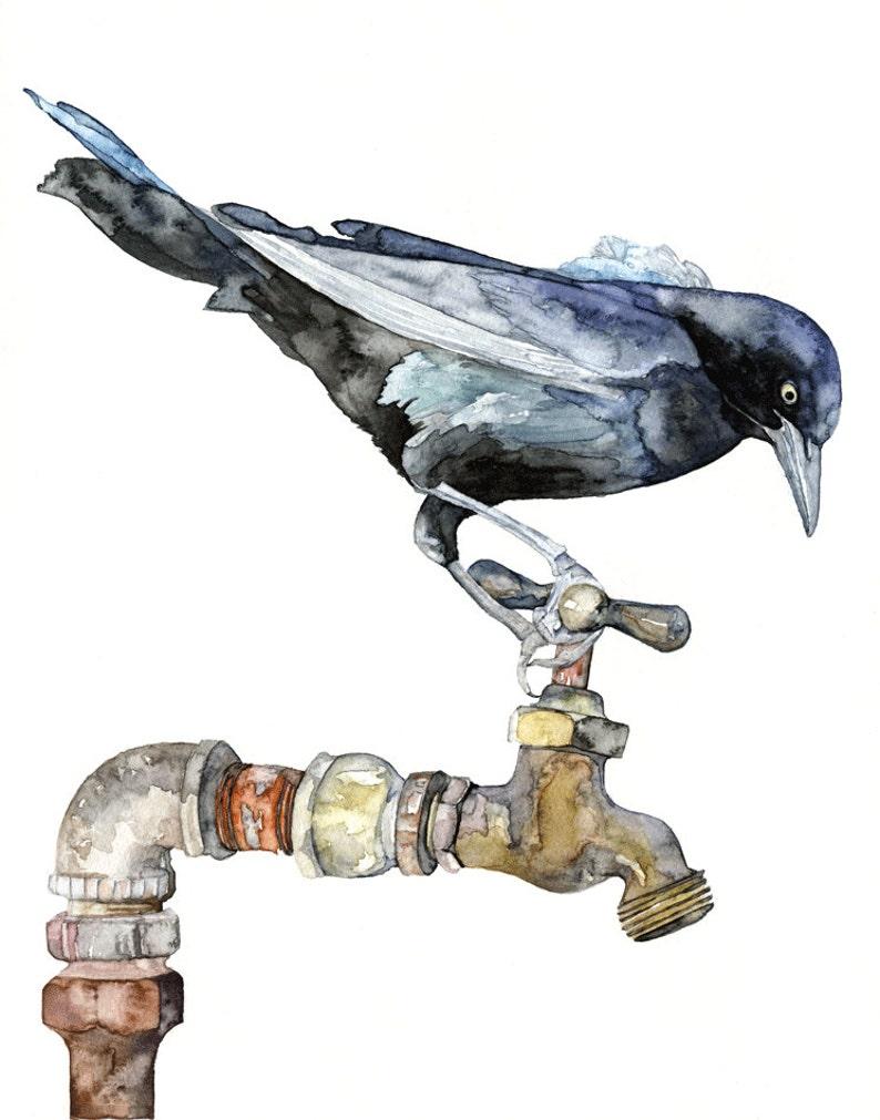 Blackbird Painting  Print from Original Watercolor Painting image 0