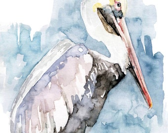 """Watercolor Painting, Pelican Painting, Pelican Print, Pelican Art, Beach Decor, Pelican Decor, Beach Art, Print titled """"The Fish Catcher"""""""