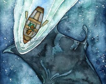 XLARGE Watercolor Manta Ray Painting - Sizes 16x20 and up, Manta Ray, Manta Ray Print, Night Sky, Celestial, Beach Decor