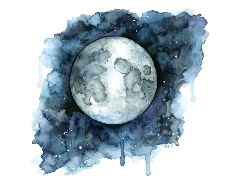 Watercolor Painting Moon Painting Moon Print Moon Phase image 0