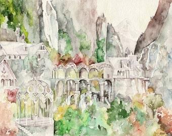 "Imladris Painting, Fantasy Painting, Elves, Fantasy Art, Bag End, Elven, Jrr, Lord, Fantasy, Rings, Riven, Dell, Print titled,  ""Imladris"""
