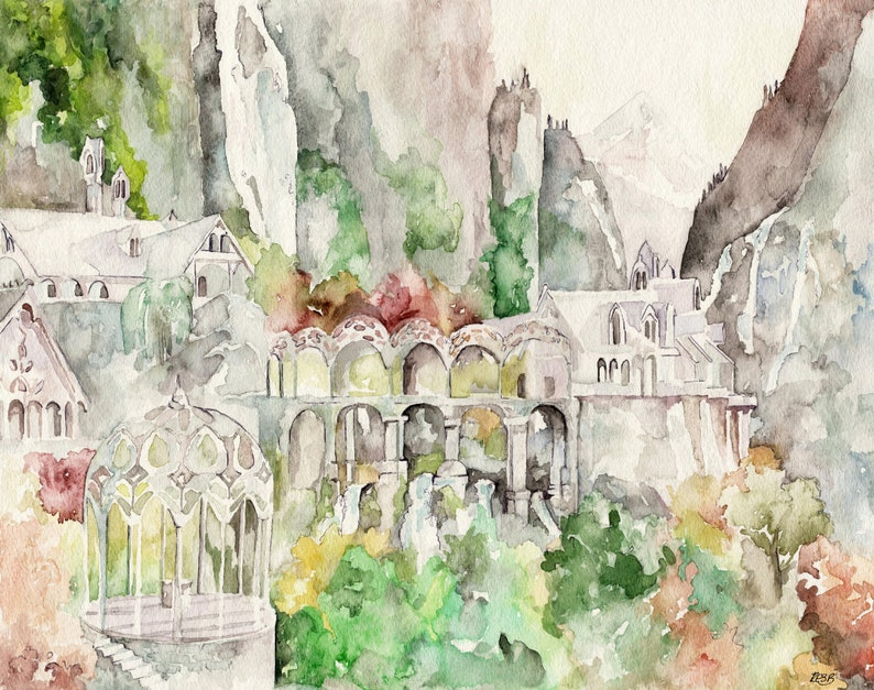 Imladris Painting Fantasy Painting Elves Fantasy Art Bag image 0