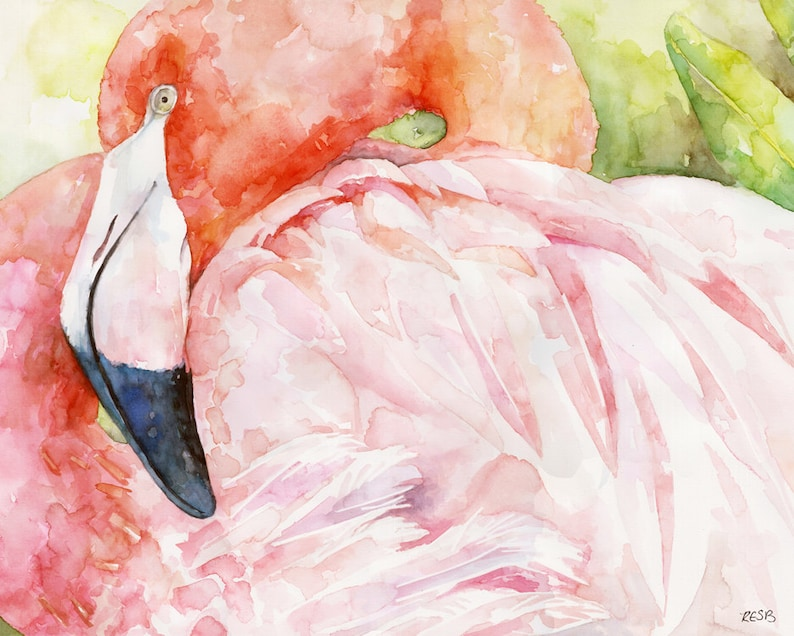 Flamingo Painting  Print from Original Watercolor Painting image 0