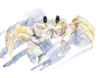 """Ghost Crab Painting - Print from Original Watercolor Painting, """"Ghost Crab Hunting"""", Beach Decor, Crab, Under the Sea"""