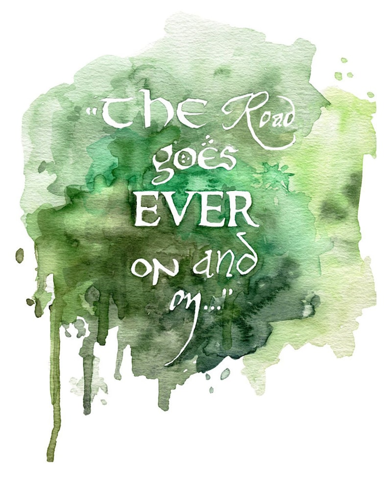 Fantasy Quote Painting  Bag End Lord Jrr Rings Watercolor image 0