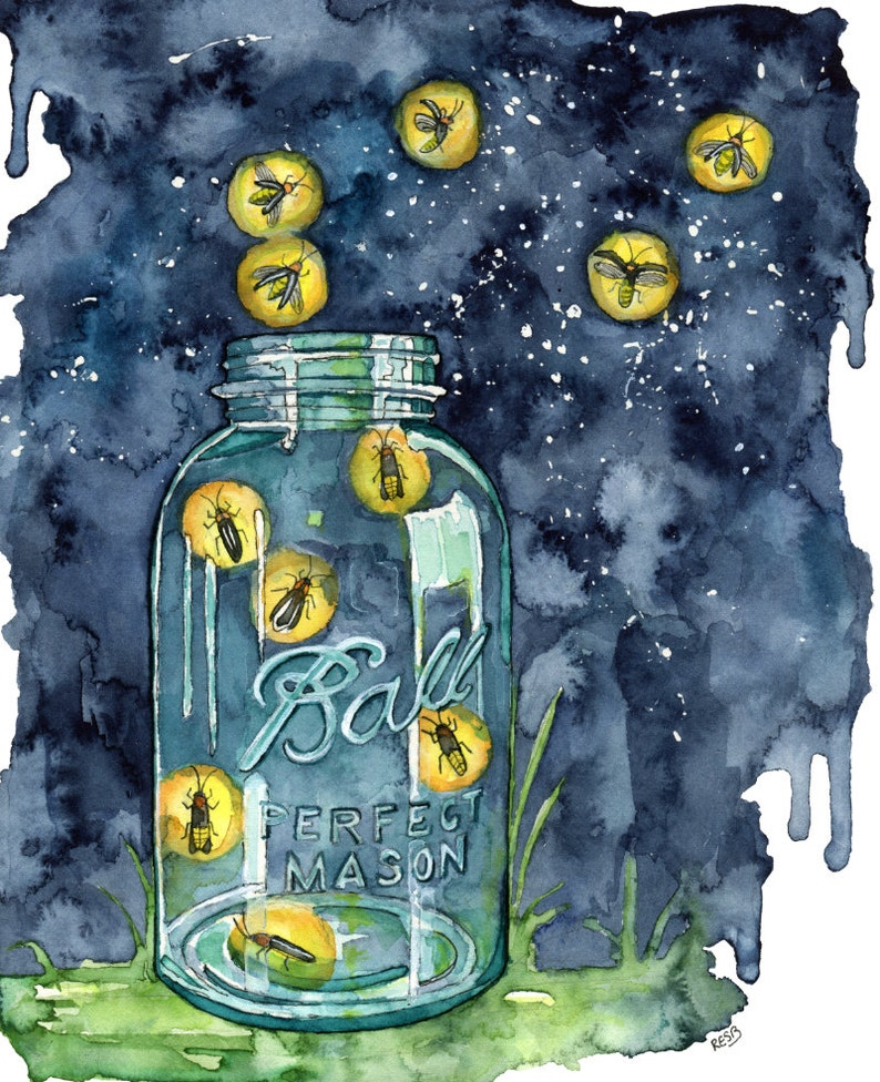 Watercolor Firefly Jar Painting  Print titled A Summer image 0