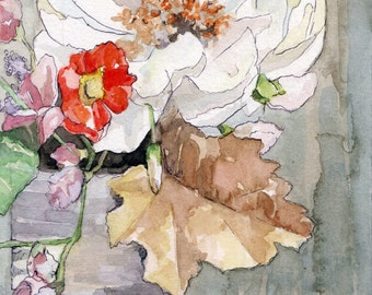 """Flower Painting - Size 5x7in, Print from Original Watercolor Painting, """"One Peony"""", Botanical, Watercolor Flowers, Flower Print"""