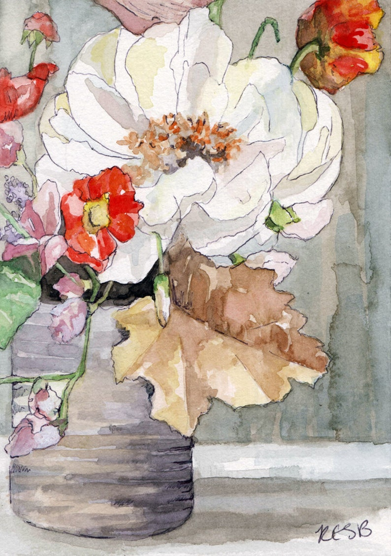 Flower Painting  Size 5x7in Print from Original Watercolor image 1