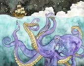 Octopus and Ship Painting - Print of Octopus, Pirate Ship Painting, Octopus Art, Pirate Print, Nursery Art, Nautical Art, Beach Art, Kraken