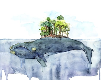 "Whale Painting, Watercolor Painting, Whale Island, Whale Art, Beach Decor, Nautical Art, Print, Whale Nursery,Print titled,""Bottomless Blue"""